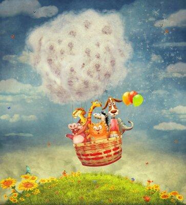 Quadro Feliz, animais, ar, balão, céu - Ilustração, arte