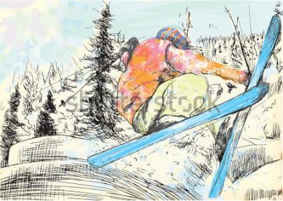 Quadro Férias de inverno - esquiador. Vector várias camadas de ilustrações desenhadas à mão. Pelo menos quatro camadas em cada foto. As camadas de núcleos são no máximo dezesseis núcleos. Contornos pretos em