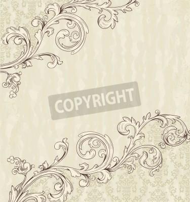 Quadro Ficha detalhada do vintage com papel de parede do damasco no fundo bege do grunge