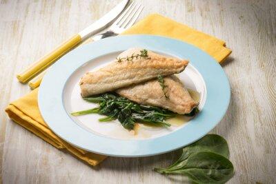 Quadro Filé de peixe com espinafre fresco