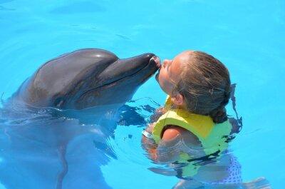 Quadro fille embrassant dauphin un