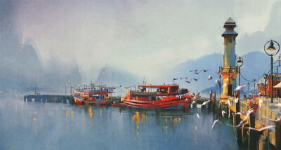 Quadro fishing boat in harbor at morning,watercolor painting style