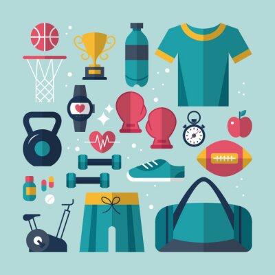 Quadro Fitness e saúde ícones lisos definido