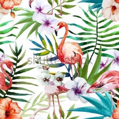 Quadro Flamingos, aquarela, trópicos, padrão