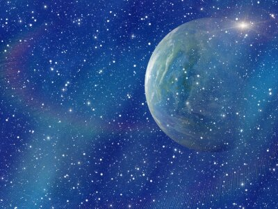 Quadro Flash branco do planeta espacial. Cosmos céu fundos