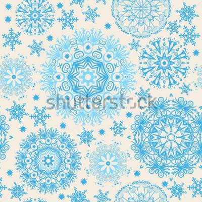 Quadro Flocos de neve lindos. Fundo sem alteração abstrata com elementos na moda. Teste padrão do vetor para web design, matéria têxtil, projeto gráfico.