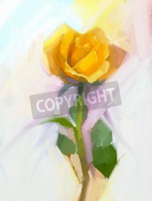 Quadro Flor abstrata da rosa amarela com pintura a óleo de folha verde. Floral pintado à mão em cores suaves e fundo de estilo borrado