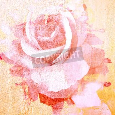 Quadro Flor bonita rosa, ilustração pintura de arte para o fundo
