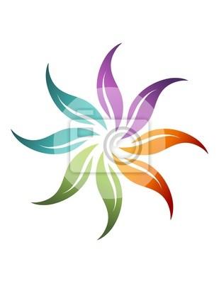 d2e7d0e8b2f9e Flor logotipo do sol abstrato ícone saúde natural símbolo pinturas ...