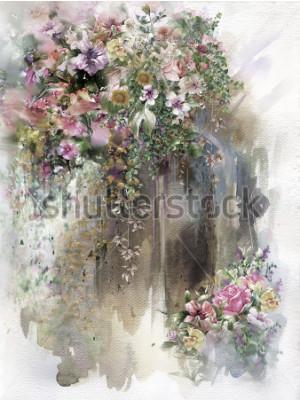 Quadro Flores abstratas na pintura em aquarela de parede. Primavera flores multicoloridas