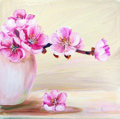 Quadro Flores de sakura no vaso