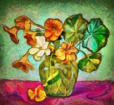 Quadro Flores vaso de vidro