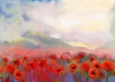 Quadro Flores vermelhas da papoila arquivada pintura em aquarela