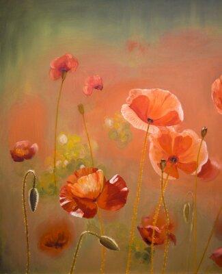 Quadro Flores vermelhas da papoila da pintura a óleo. Fundo floral da natureza da mola