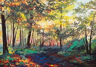 Quadro floresta colorida com árvores na primavera ao pôr do sol, pintura a óleo