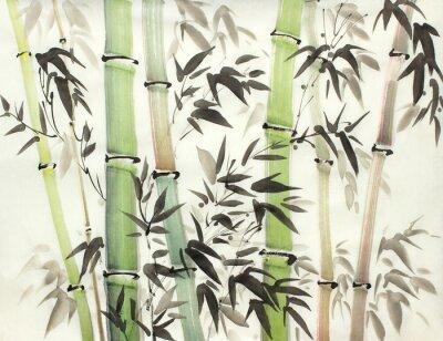 Quadro floresta de bambu brilhante