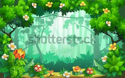 Quadro Floresta fantástica de flores, selva fabulosa, trópicos. Vetor de fundo.
