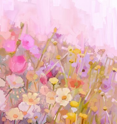Quadro Flowers field oil painting,soft color-blur style