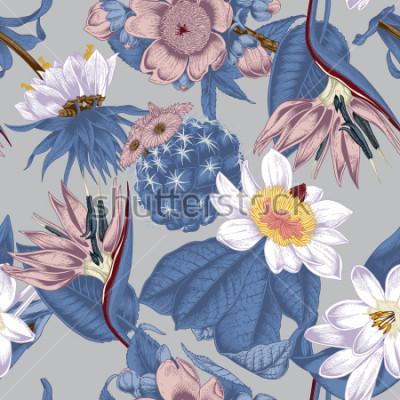 Quadro Flowers. Seamless vector background. Vintage illustration. Exotica. Tropics.