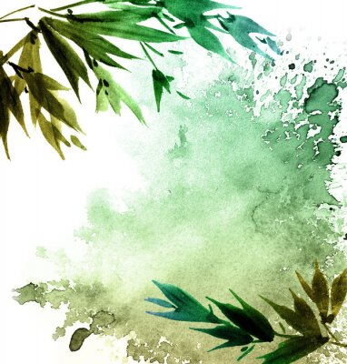 Quadro Folhagem de árvore pintada em aquarela
