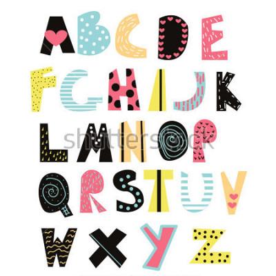 Quadro Fonte de crianças engraçadas. Alfabeto bonito para educação ou decoração. Vetorial mão ilustrações desenhadas.