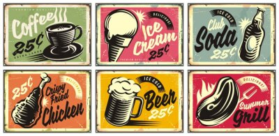 Quadro Food and drinks vintage restaurant signs collection. Set of retro advertisements for coffee, beer, ice cream, club soda, grill and fried chicken. Vector illustration.