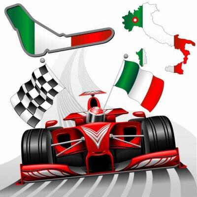 Quadro Fórmula 1 Red Race Car GP Monza Itália