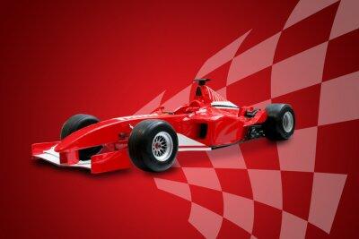 Quadro fórmula vermelho um carro e bandeira de competência