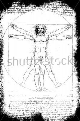 Quadro Foto do homem de Vitruviano por Leonardo da Vinci desde 1492 no fundo textured.