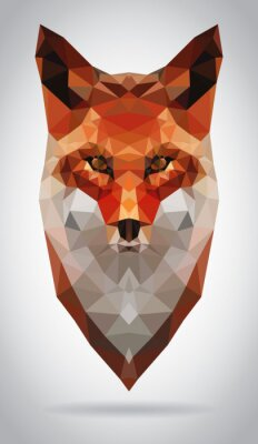 Quadro Fox cabeça vector isolado ilustração geométrico moderno