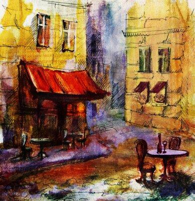 Quadro Francês outdoor europeu café pintura, desenho gráfico em cores