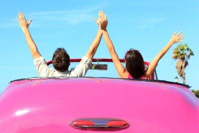 Quadro Freedom - feliz casal livre no carro