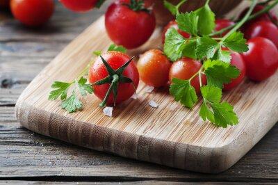 Quadro Fresco, vermelho, tomate, verde, salsa