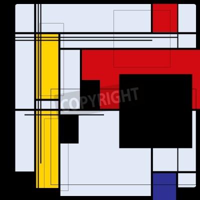 Quadro Fundo abstrato no estilo de um cubism, vermelho, azul, quadrados amarelos
