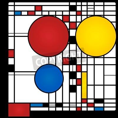 Quadro Fundo abstrato no estilo de um cubism, vermelho, azul, quadrados e círculos amarelos