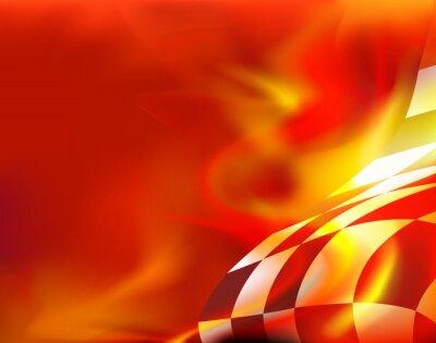 Quadro Fundo bandeira chequered e chamas vermelhas