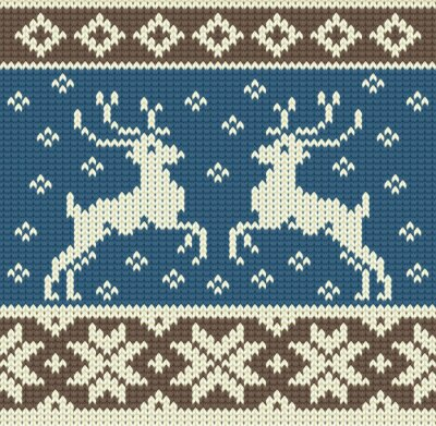 Quadro Fundo bonito tricô com duas renas e flocos de neve