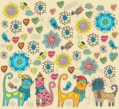 Quadro Fundo brilhante com gatos, flores e corações