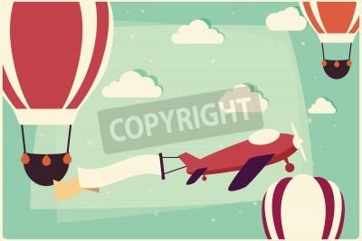 Quadro Fundo com balões de ar quente e avião com fita, ilustração vetorial