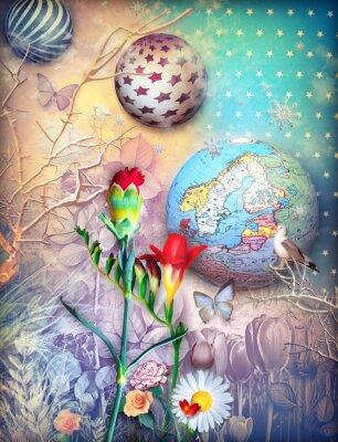 Quadro Fundo, conto de fadas, colorido, flores