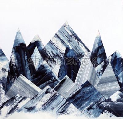 Quadro Fundo de arte. Textura de tinta no papel. Colagem de montanhas abstratas