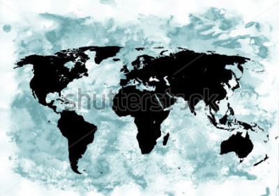 Quadro Fundo de mapa do mundo. Fundo grunge. Arte emocional abstrata. Elemento de design moderno.