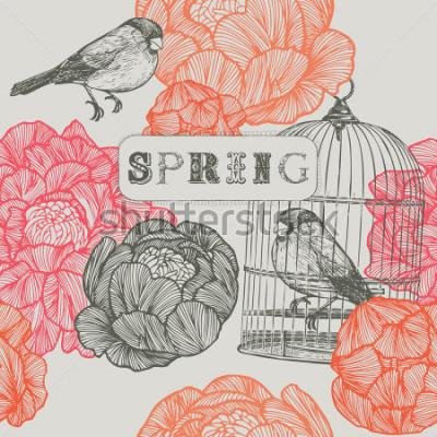 Quadro Fundo de primavera. Aves e gaiolas. Padrão sem emenda