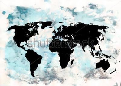 Quadro Fundo do mapa do mundo. Fundo grunge. Arte emocional abstrata. Elemento de design moderno.