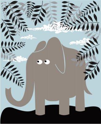 Quadro Fundo do vetor com elefante e folhagem