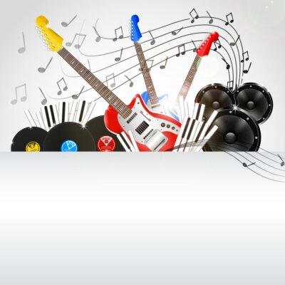 Quadro Fundo do vetor da música com Instrumentos e equipamentos de Música