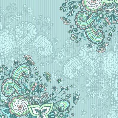 Quadro Fundo do vintage com flores do doodle no azul