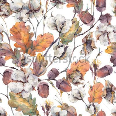 Quadro Fundo do vintage com folhas de aquarela, flor do algodão, folhas do carvalho amarelo e bolotas. Padrão sem emenda de ilustrações em aquarela botânica