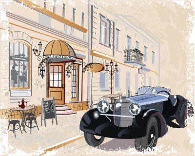 Quadro Fundo do vintage com um carro e músicos retro, vistas da cidade velha.