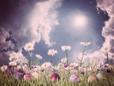 Quadro Fundo do vintage de Easter com ovos e flores